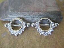 Rose Gold IP Clear CZ Nipple Ring Shield Barbell Piercings
