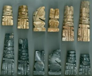 Aztec Style Carved Stone Set Replacement Pieces Tan & Black 2 Sizes - You Pick