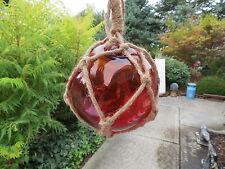 5 Inch Red Orange Curio Glass Float Ball Buoy Bouy Fishing Net
