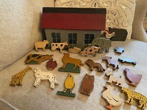 Antique Folk Art Early 1900s Noah's Ark Barn W Animals Wooden Handmade Primitive