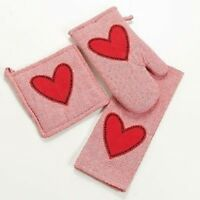 NEW LARGE RED HEART 3 PC KITCHEN SET POT HOLDER OVEN MITT TOWEL MOTHERS DAY GIFT