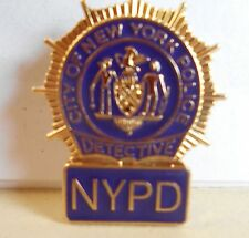 NYC NYPD Police Mini Shield Detective Gold Color Pin On Novelty Item