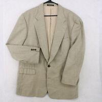 Vtg FRANCO TASSI Silk Wool Beige Check Blazer Sport Coat Suit Jacket Men's 46L