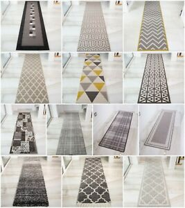 Modern Extra Long Narrow Grey Hallway Runners Soft Traditional Rugs For Hall NEW