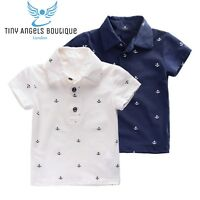 All over Anchor print polo t shirt Kids Boys Summer Uk Seller