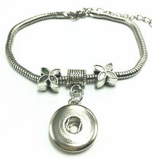DIY New Fashion Charm Tibet silver bracelet Fit snap chunk button charm Gifts