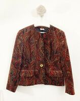 Eastex Jacket Vintage Blazer Paisley Red Mix occasion Long Sleeve Sz 16