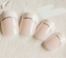 24pcs White Glitters Short French Fake Nails Gel Polish Full Cover Nail Manicure