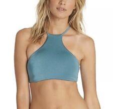 Billabong Sol Searcher High Neck Halter Bikini Top Blue Green Medium