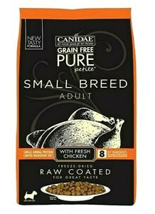 CANIDAE Grain Free Pure Petite Small Breed Raw Coated Dry Dog Food Chicken 10Lbs