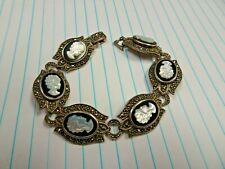 Vintage Signed 925 Sterling Intaglio Glass Cameo Womens Heads Marcasite Bracelet
