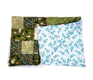 Handmade Baby Quilt Blanket Reversible Unique Multicolor Stripes Cats & Trucks