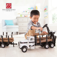 Big Farm Peterbilt Model 367 Logging Truck Toy with PUP Trailer & 10 Logs 3+