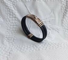 Yanvan Jewellery Black Rubber & 925 Sterling Silver Detailing Bracelet. Unisex.