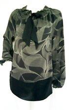 JAEGER Suelta Blusa de seda larga talla XS -- nuevo -- 100% Seda de Manga Larga
