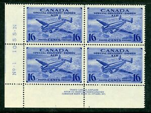 Weeda Canada CE1 VF MNH LL pl. 1 block, 16c Special Delivery Airmail CV $27