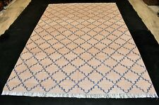 Hand Woven Beige Color Modern Cotton Kilim 6x9 Feet Geometric Area Rug