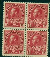 CANADA #MR2 2¢ War Tax Stamp, Block of 4, og, NH, VF