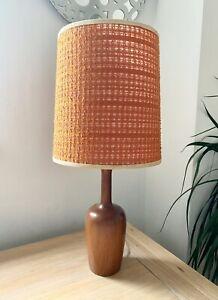 1960s Teak Wooden Lamp, 1950s Midcentury Vintage Retro With Original Shade