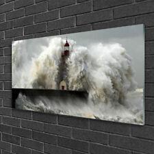 Glasbilder 100x50 Wandbild Druck auf Glas Leuchtturm Landschaft