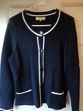 Women's *Jones New York* Black Button Up Sweater w/White Trim Size Large!