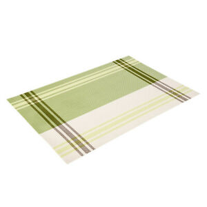 Green Striped TABLE PLACEMAT, Rectangular Dinner Serving Kitchen Placemat, 18x12