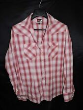 Panhandle Slim B&D XL Pink Plaid Western Snap Shirt V Neck Woman Long Sleeve XL