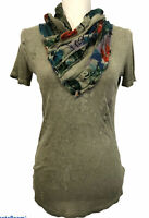 Desigual Women's top short sleeve shawl neck olive green Size M