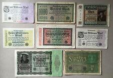 Sammlungsauflösung Posten 8 alte Geldscheine Deutsches Reich -Inflation.... (22)