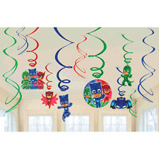 PJ MASKS HANGING SWIRL DECORATIONS (12) ~ Birthday Party Supplies Foil Disney