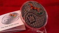 2014 Lunar Yin & Yang Fiji 1 oz Silver Horse 2014 Proof Bullion Coin