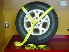 4 - 8FT Lasso Strap O Ring YELLOW DOT Tow Dolly Axle Car Hauler Tie Down Sling