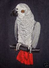 Denim, Embroidered parrot bird cage cover African Gray