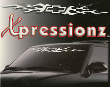 Xpressionz Chevy Bowtie Logo Flames Chevrolet Windshield Decal Chroma Grapics