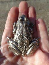 Embossed Large Frog Pin Vintage Signed Truart Sterling Detailed