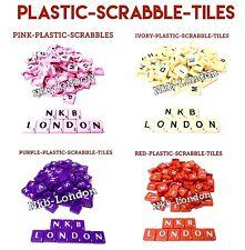 PLASTIC Scrabble Tiles Letters Set of Game Pieces Craft Plastic Wooden 100 uk