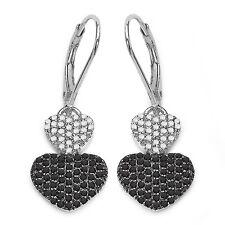 Exclusivo 0,94 quilates negros y Blanco Diamante Corazón Alambres En Plata 925