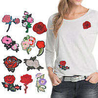 11stk Mixed Rose Aufnäher Bügelbild Stickerei Blumen Patch Flicken Applikation
