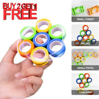 3in1 Magnetic Finger Spinner Fidget Rings Magic Anti-Stress Relief Game Toy Gift