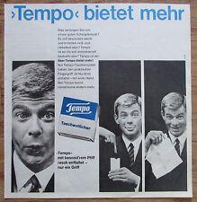 TEMPO BIETET MEHR Taschentuch original Zeitungswerbung aus 1963 Werbung Reklame