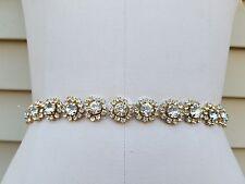 Wedding Belt, Bridal Belt, Sash Belt, Crystal Rhinestones with Gold Accents