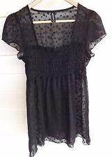 Jeanswest Women's Sheer Black Polka Dot Short-Sleeve Top - Size 8