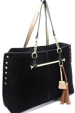 Ladies Large Classic Designer PU Leather Handbag Shoulder Tote Tassel Bag Purse