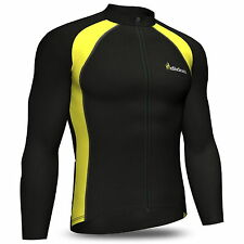 Mens Cycling Jersey Full Sleeve Cold Wear Thermal Fleece Top Bike racing team