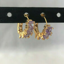 women square crystal Huggie purple Ametrine Hoop Earrings  Gold filled QQJ25