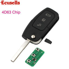 Flip Folding Remote Key 3 Button For Ford Focus Fiesta C Max Ka 433MHZ 4D63 CHIP