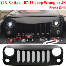Black Front Matte Grill with Mesh Angry Bird Grid For 07-UP Jeep Wrangler JK fp