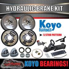 """9"""" Hydraulic Drum Trailer Brake, Coupling & Fitting Kit. koyo Bearings. Caravan"""