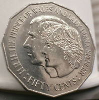 Australian 1981 50 cent coin. Charles and Diana. Free postage Australia.