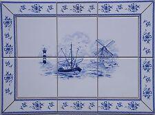 Fliesen Bild nach Delfter Art Dekor, 15x15 blau/ weiß, mit antikem Kachel Rand